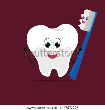 Icon with caricatures of a molar tooth and a happy toothbrush. Vector, illustration.