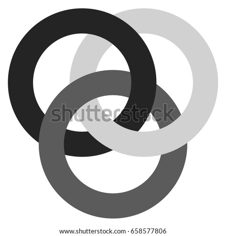 Icon with 3 interlocking circles. rings