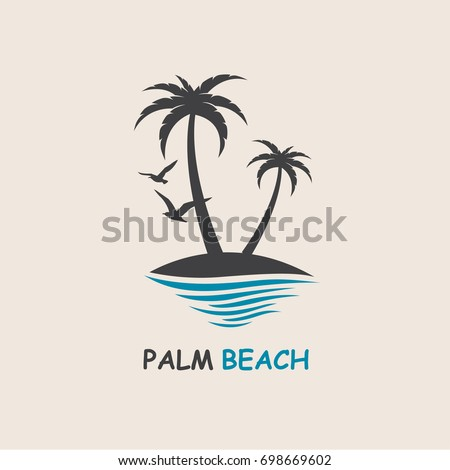 icon with palm trees silhouette