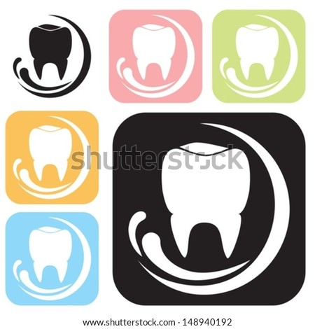 Icon with the tooth image. Vector set.  EPS-10 (non transparent elements,non gradient)