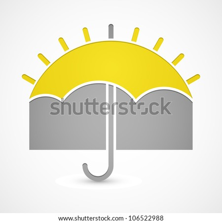 Icon with umbrella or sun on theme weather