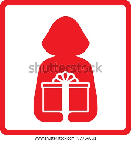 icon with woman silhouette hold red gift box