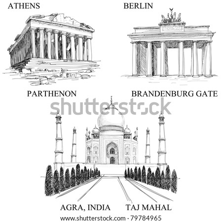 Iconic buildings, famous travel destinations (pencil drawings)