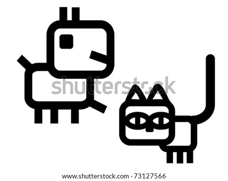 Iconic dog and cat