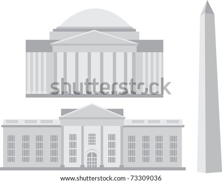 Iconic landmarks of Washington DC, Jefferson Memorial, Washington Monument, White House, vectors
