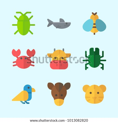 Icons about Animals with cockroach, wasp, beetle, tiger, shark and crab