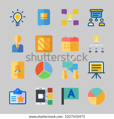 Icons about Business with pie chart, box, teamwork, id card, calendar and notebook