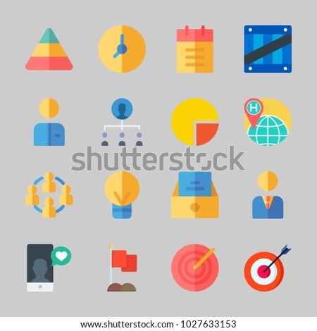 Icons about Business with teamwork, box, target, smartphone, clock and manager