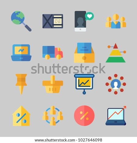 Icons about Business with wallet, laptop, delivery truck, shopping basket, real estate and inbox