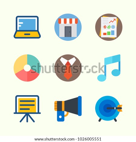 Icons about Digital Marketing with pie chart, tie, shop, stats, target and laptop