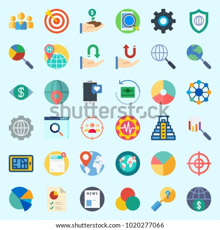 Icons about Marketing with pyramid, money, teamwork, pie chart, target and shield
