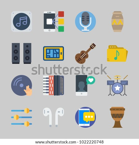Icons about Music with dj, earphones, announcer, music file, drum and speaker
