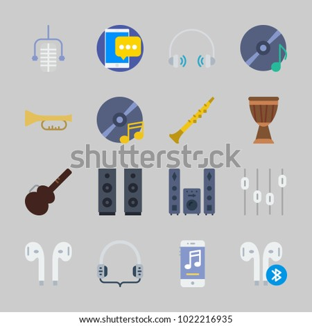 Icons about Music with music player, oboe, microphone, headphones, guitar protector and trumpet