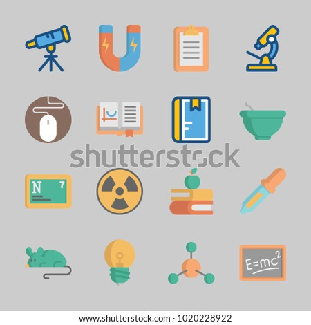 Icons about Science with microscope, notebook, atom, light bulb, nitrogen and open book