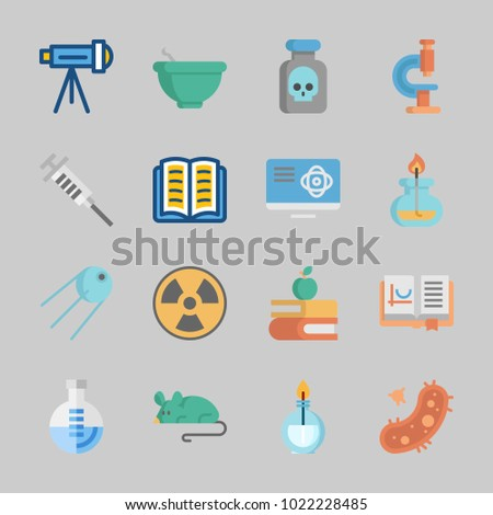 Icons about Science with mortar, radiation, telescope, sputnik, poison and flask