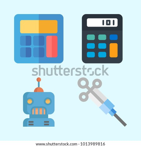 Icons about Science with syringe, robot and calculator