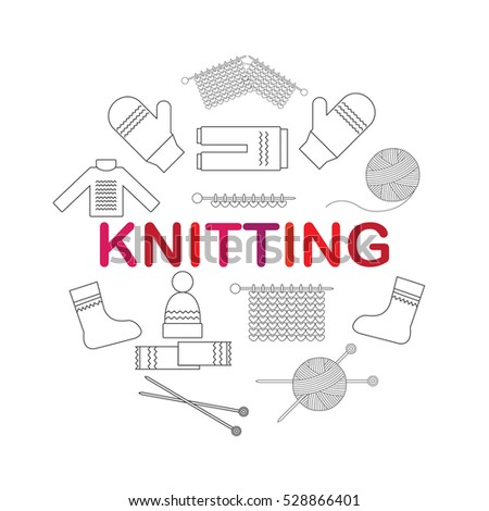 Stock Photo Icons accessories for knitting and knitwear. Vector illustration.