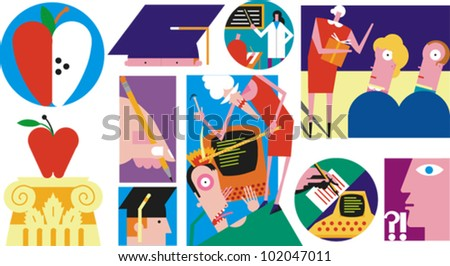 Icons and illustrations depicting education, learning, graduation and information