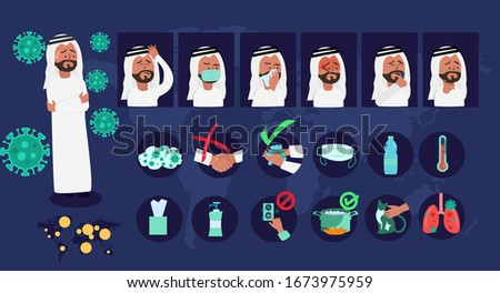 Icons and symbols character about coronavirus with illustrated sick Arabic man golf