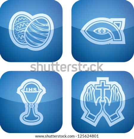 Icons and symbols of the Christian Easter rituals, from left to right, top to bottom:  Easter eggs, Symbol of Christianity, Chalice, Praying hands.