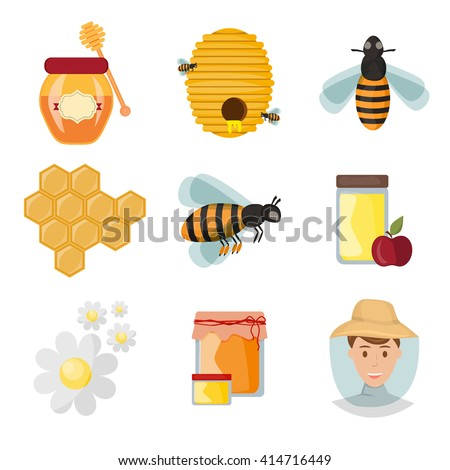 Icons apiaries and yellow bee vector. Bee flying in beehive, jar honey and honeycomb, beekeeper apiary. Set art beekeeping honeycomb beeswax honey jar, little bee agriculture organic wax farm .