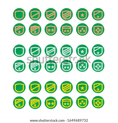Icons badge insignia military rank, level up from workhard, trophy for award