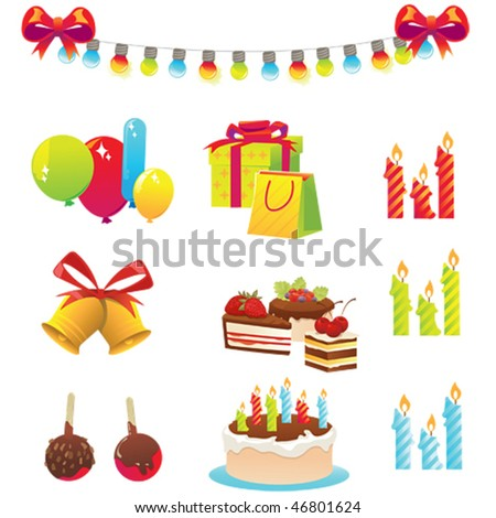 Icons Birthday Set - stock vector