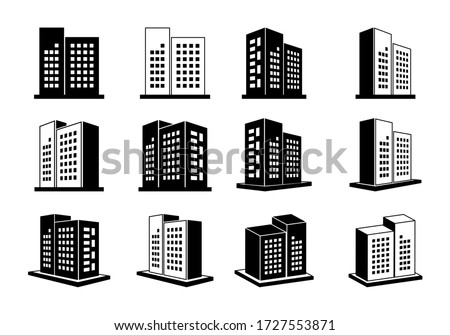 Icons building and company, 3D Vector bank and office collection on white background, Line black edifice and residential, Set apartment and condo illustration