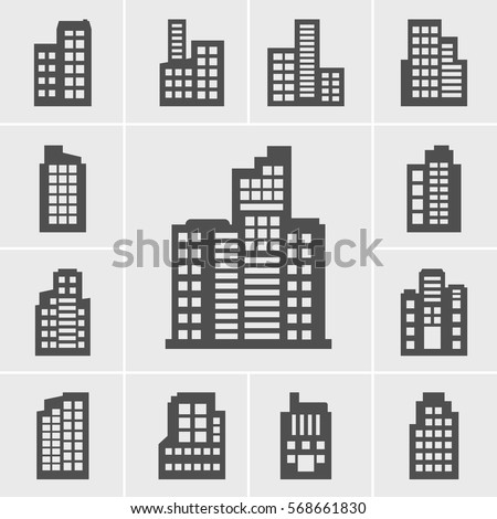 Icons Building Vector illustration