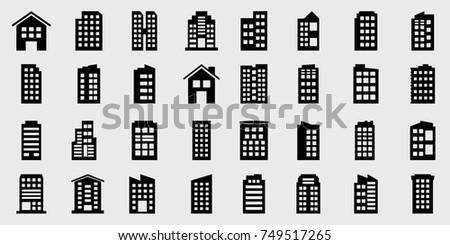 Icons Building Vector illustration set