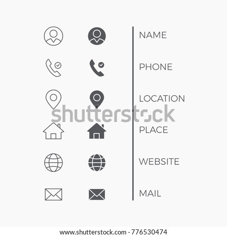 Icons Business Card. Vector Thin Line symbols set.
