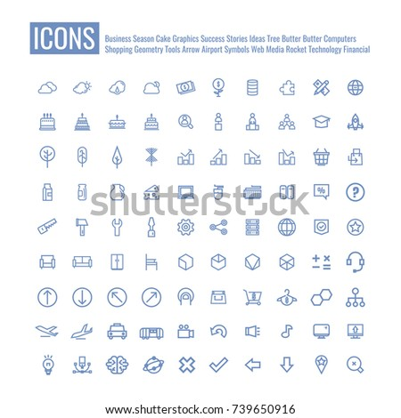 icons Business Meetings Clouds Cake Success Rocket Startup Tree Graph Shopping Cart Milk Box Computer Mouse Furniture Technology Tools Geometric Calculator Arrow Airport Music Brain Media. vector