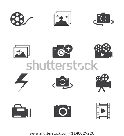 Icons Camera with no photos, camera focus, photos, camera and monitor with picture
