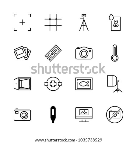 Icons Camera with no photos, camera focus, photos, camera tripod and monitor with picture