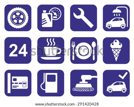 Icons car service, car wash, polishing, tire, cafes, monochrome, flat. The monochrome icons with images of a car service - car washing, tire repair, car body polishing. For websites and printing.