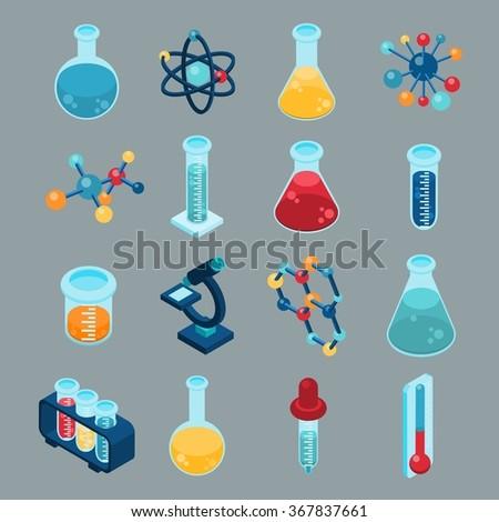 icons chemistry isometric