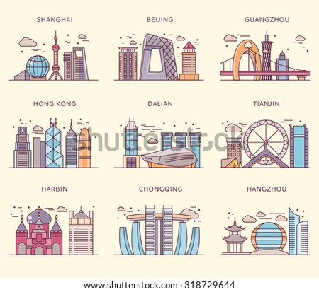 icons chinese major cities flat