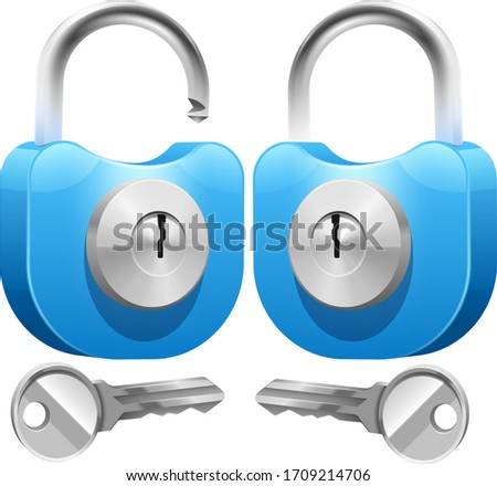 Icons closed lock and open lock. Isolated signs on white background. Key lock illustration privacy and password icon. Safety and security protection with locked secure mechanism locking system