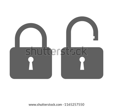Icons closed lock and open lock. Symbols security. Isolated grey signs on white background. Flat vector illustration
