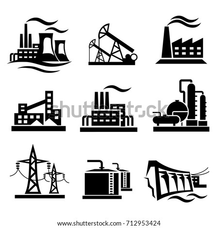 icons collection of different power plants and factories, industry symbols