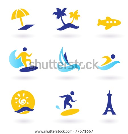 Icons collection of stylized travel and vacations icons. Vector