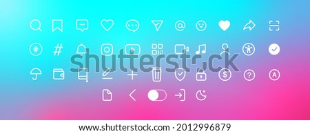 Icons collection on a colorful background. Web icons, sings white color. Social media concept. Vector illustration. EPS 10