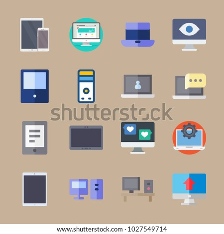 icons Computer with medicine, computer, eye, device and phone
