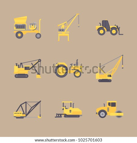 icons Construction Machinery with crane truck, heavy truck, paver truck, crane and tractor