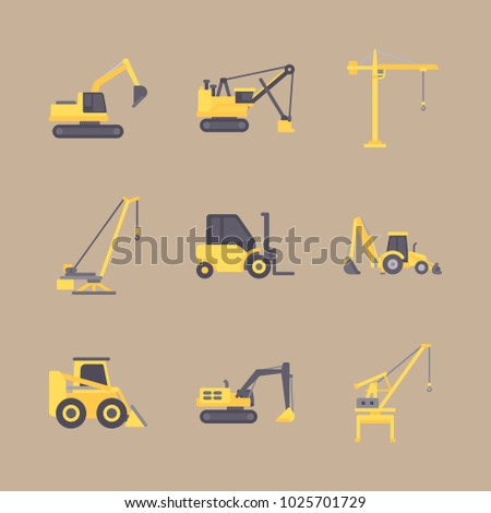 icons Construction Machinery with forklift, bulldozer, backhoe loader, tractor and building truck