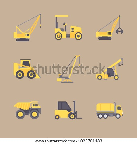 icons Construction Machinery with tractor, forklift, bulldozer, paver and heavy truck