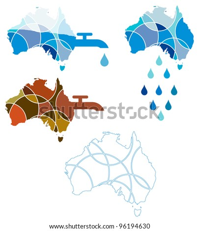 Icons depicting the water crisis in Australia - stock vector