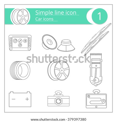 icons equipment for cars