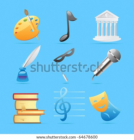 Icons for arts: fine arts, music, architecture, poetry, literature, theater. Vector illustration.