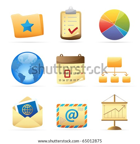 Icons for business metaphors and symbols. Vector illustration.
